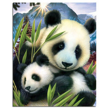 5D Diy Diamond Painting Cross Stitch Giant Panda Mother And Son Needlework Embroidery Full Round Mosaic Decoration Resin