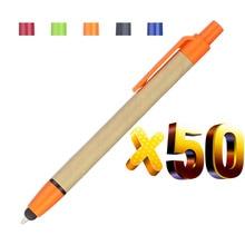 Lote 50 peças 2 em 1 caneta esferográfica de papel eco, tela sensível ao toque, presente do logotipo da promoção personalizada, para o telefone inteligente