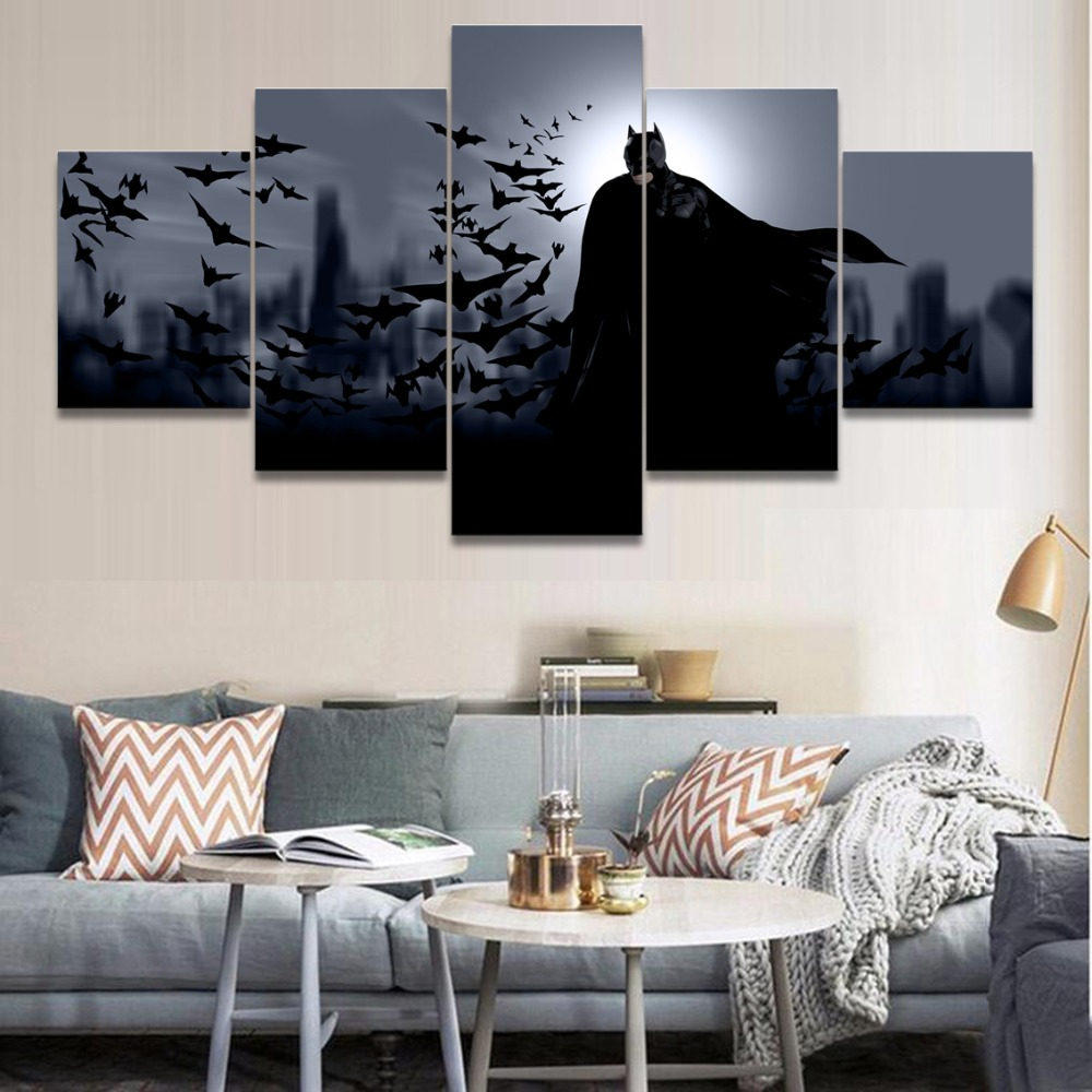 HD Prints Pictures Home Decorative Modular Poster Framework 5 Pieces Comics Batman Canvas Paintings For Boys Room Wall Art in Painting Calligraphy from Home Garden