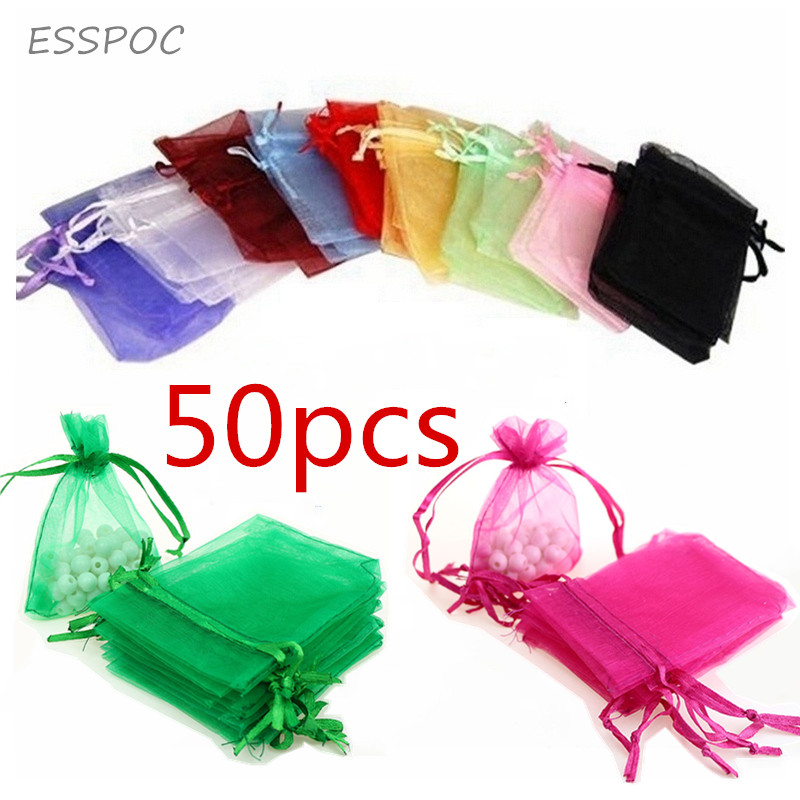 7x9CM Sheer Organza Bags Drawable Jewelry Pouch Gift Packaging Bag Candy Bag For Wedding Prom Party Decor 50pcs/set