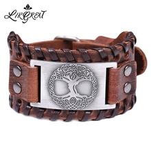 LIKGREAT Древо жизни привлекательные металлические браслеты славянский Браслет манжета широкая коса кожаный браслет для мужчин Винтажные Ювелирные изделия wicca подарок