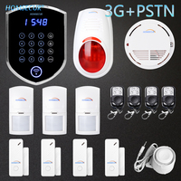 HOMSECUR Wireless&wired WCDMA 3G Home Security Alarm System With Smoke Detector YC04 3G