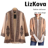 2018 Spring New Khaki Velvet Embroidery Coat Vintage Ethnic Loose Janpan Kimono Jacket Female Open Stitch Jacket Coat