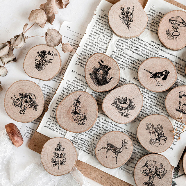 Vintage round wooden animal plants stamp DIY decal for scrapbooking stamp zakka stationery office school supplies gift