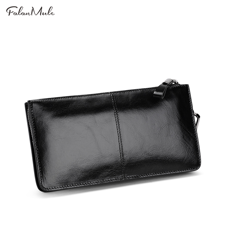 FALAN MULE Genuine Leather Men Wallet Brand Fashion Male Purses Clutch Phone Card Holder Coin Wallet Men's Purse For Money new arrival leather wallets men brand business long purses money bag credit card holder 2017 new zipper phone clutch wallet male
