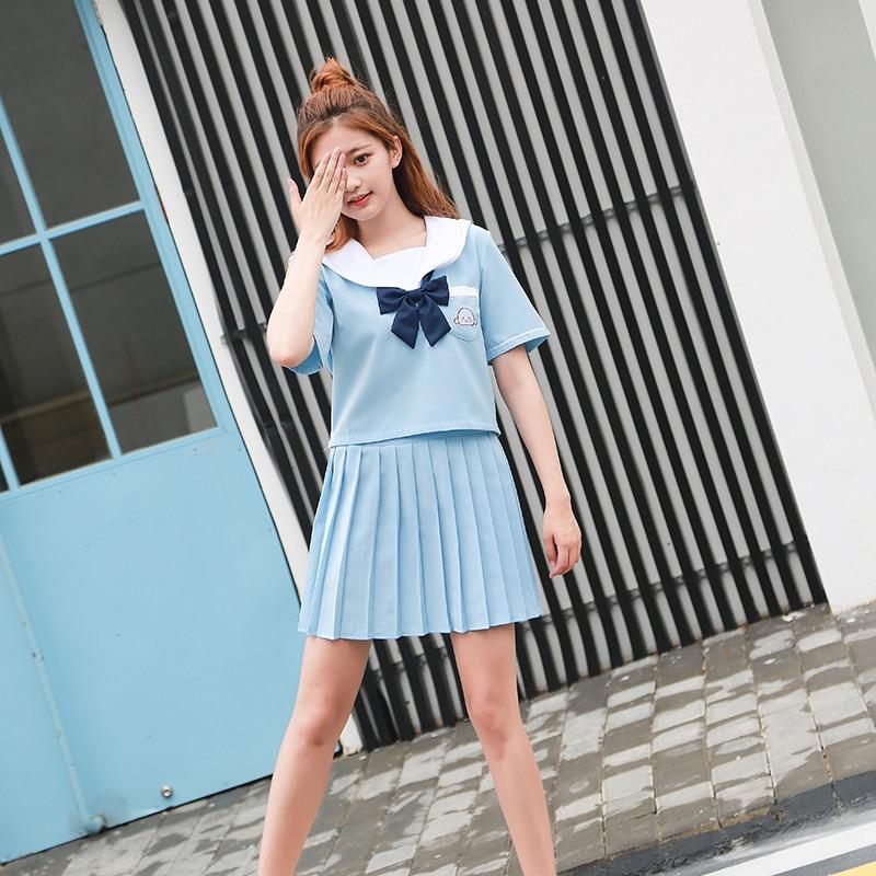 JK School uniform set Student uniform tie Sailor suit set Table costume Japanese school uniform Girl Summer Short sleeve + skirt