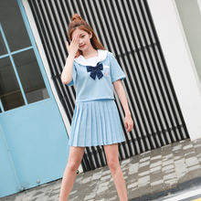 JK School uniform set Student uniform tie Sailor suit set Table costume Japanese school uniform Girl Summer Short sleeve + skirt