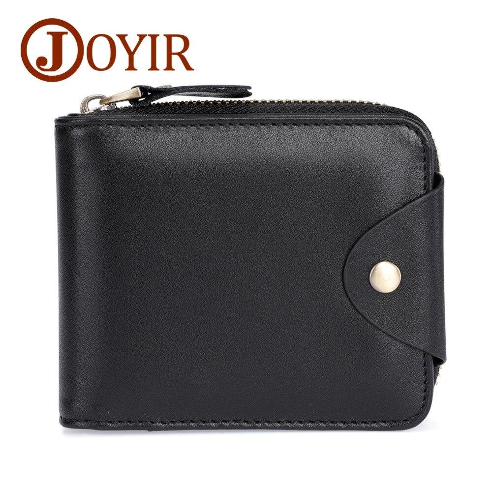 JOYIR Genuine Leather Men Wallets Credit Business Card Holders Small Zipper Cowhide Leather Wallets For Men Short Purse Carteira