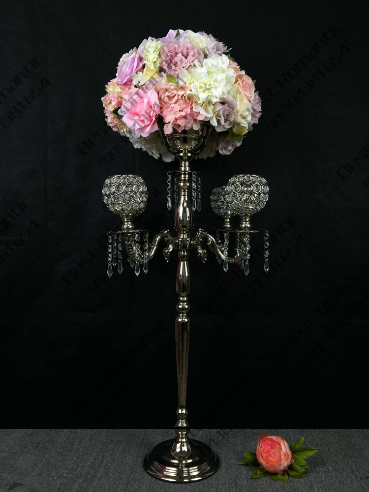 Candle Holders Home Decor Trustful 78cm Tall Silver Wedding Candelabras Flower Stand Crystal Table Centerpiece Wedding Decoration 10 Pcs/lot Preventing Hairs From Graying And Helpful To Retain Complexion