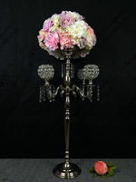 78cm Tall Silver Wedding Candelabras Flower Stand Crystal Table Centerpiece Wedding Decoration 10 pcs/lot