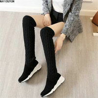 NAYIDUYUN Thigh High Boots Women Cow Suede Leather Round Toe Over Knee Boots Stretchy Slim Leg