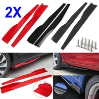 2X Universal Car Body Styling Side Skirt Rocker Splitters Winglet Wings Canard Diffuser Bumper Kit Red/Black/Carbon Fiber