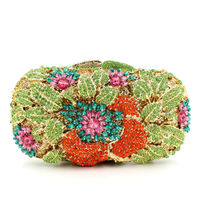 BL010 Flower Clutch Bag Colorful Rose Evening Bags Handcraft Day Clutches Wedding Party Purse Women Soiree
