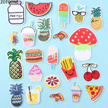 ZOTOONE Colorful Foods Pizza Patch for Clothing Embroidered Clothes Patches Applications Jacket Badges Sticker Sequin Applique E