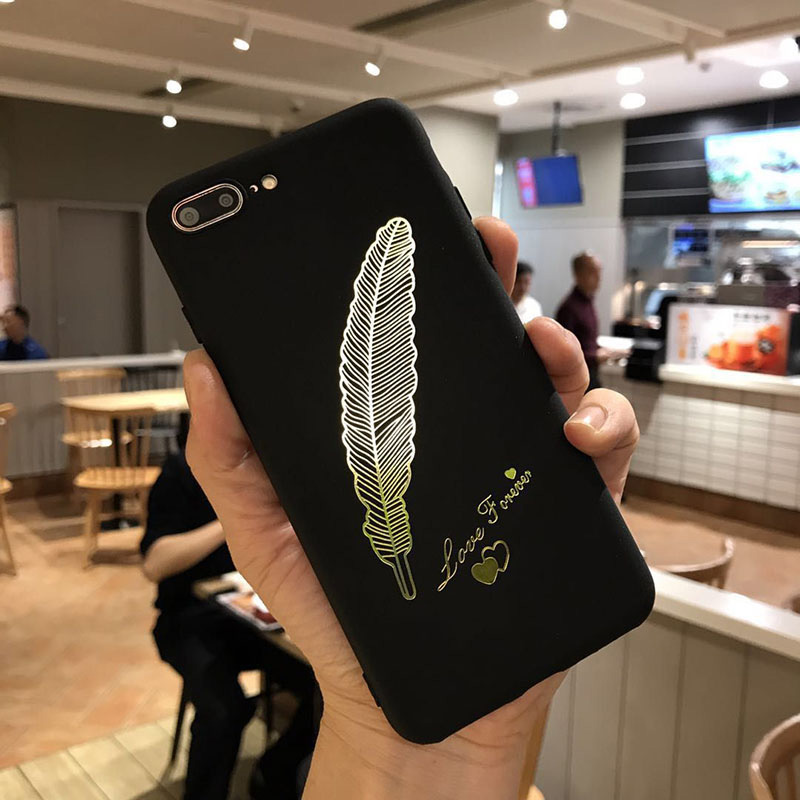 Phone Cases TPU Fashion feathers Black Frosted Silicon Phone soft Cover case Capa for IPhone 6 6s 7 8 Plus X 10 7plus 8plus