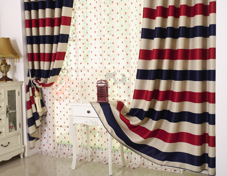US $19.0 5% OFF|Red Blue Beige Stripe Design Curtains Kids Children Bedroom  Thick Blackout Curtains UK Dot Sheer Curtain Window Living Room AA5-in ...