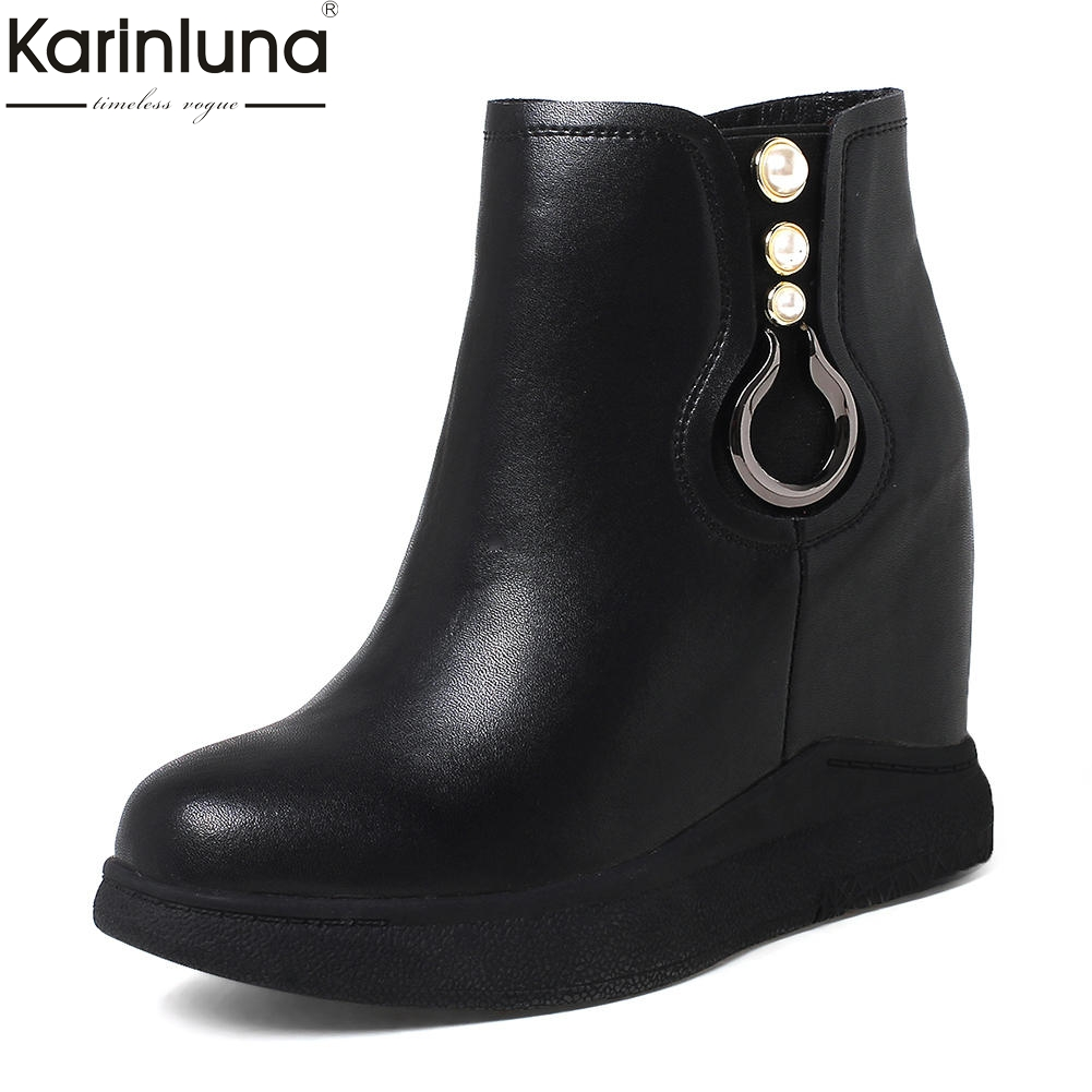 KARINLUNA 2018 Brand New Genuine Leather Zip Up Platform Ankle Boots Woman Shoes Add Fur Winter Boot Female Shoes Woman karinluna 2018 plus size 30 50 pointed toe square heels add fur warm winter boots woman shoes woman ankle boots female