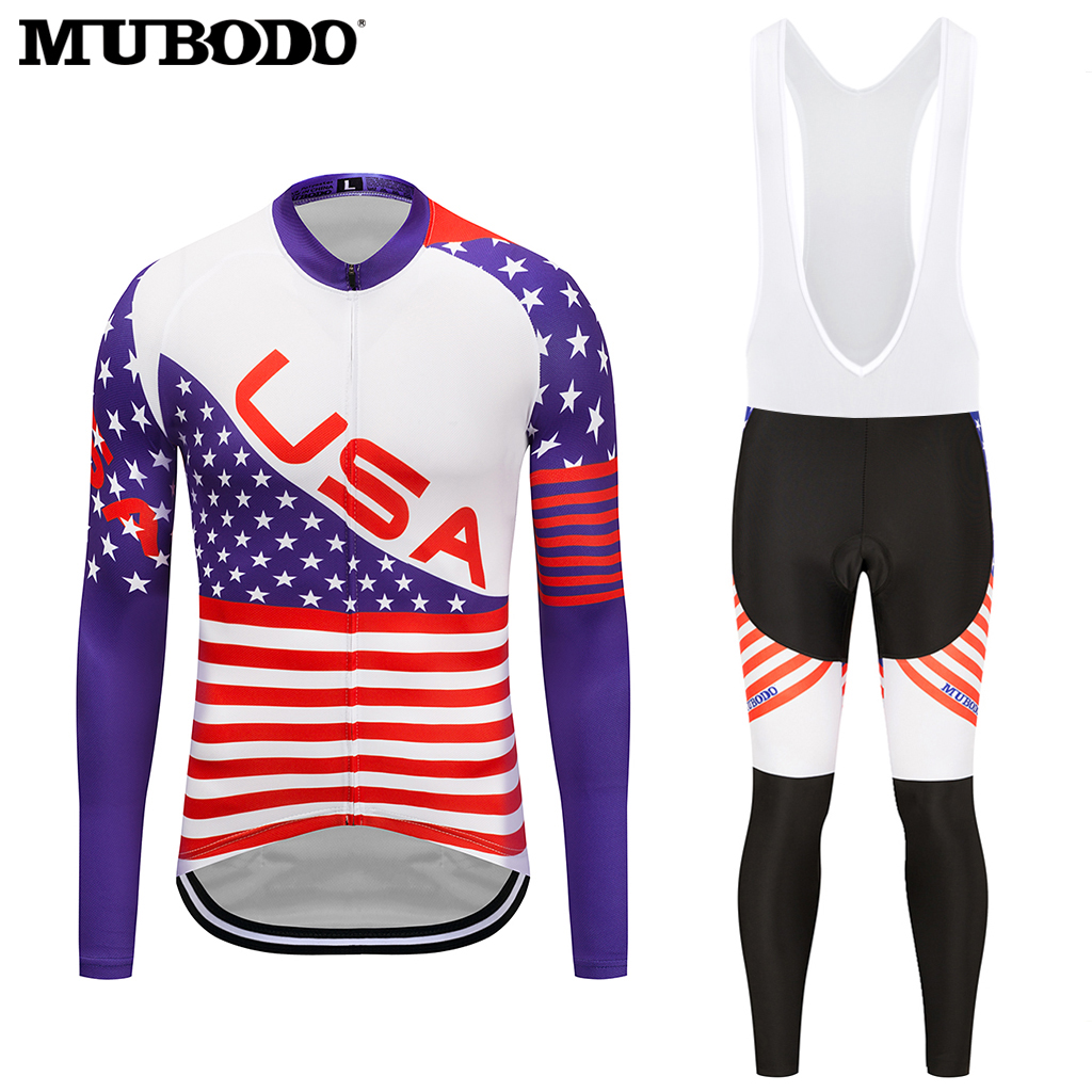 2018 National countries Long Cycling Jersey Sets Bicycle Clothes Full YKK Zipper Cycling Sets Pro Bike Riding Outdoor Sportwear