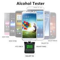 NOVA Protable Display Backlight LCD Respiração Alcohol Tester Detector Bafômetro Analyzer Alchotester Para Android & iPhone/Samsung