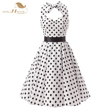 Halter Style Cotton Vintage Dress 1950s 1960s Retro Rockabilly Casual Short Summer Polka Dots Dress Lace Up Back White VD0083