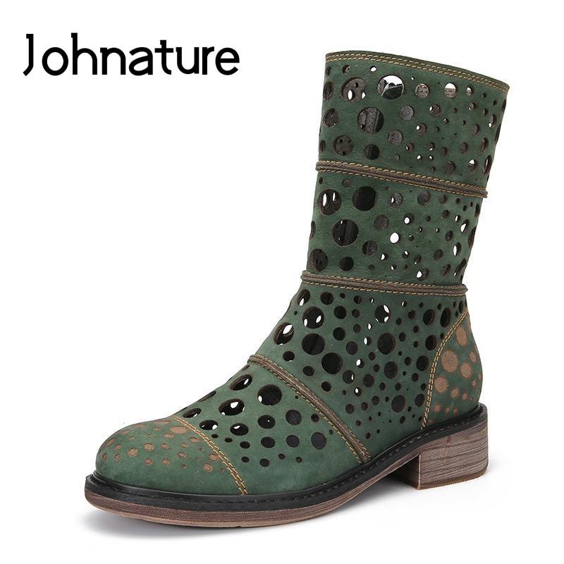 Johnature 2019 New Spring autumn Retro Genuine Leather Boots Round Toe Zipper Mid calf Casual Womens