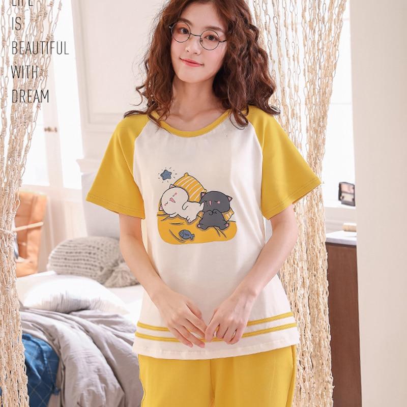 XCAMP Women Sleepwear Summer Clothes For Women Pajamas Set Calf- Length Pants Cotton Print Casual Style Women Nightgown 37