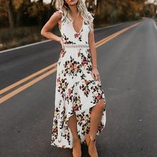 2019 New Yfashion Women Sexy V-neck Backless Printing Irregular Hem Casual Dress Top Selling