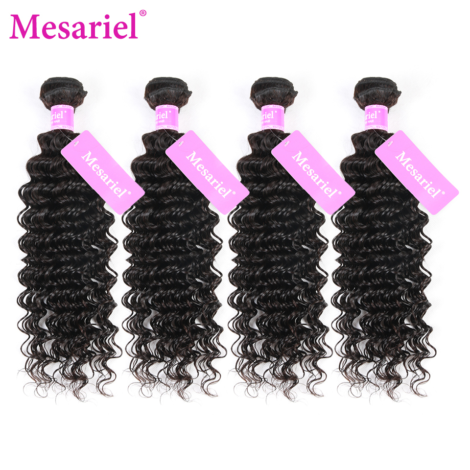 Mesariel Peruvian Deep Wave Hair Weave Bundles 8-30 inch 100% Human Hair Bundles 4 Piece Non-Remy Natural Color