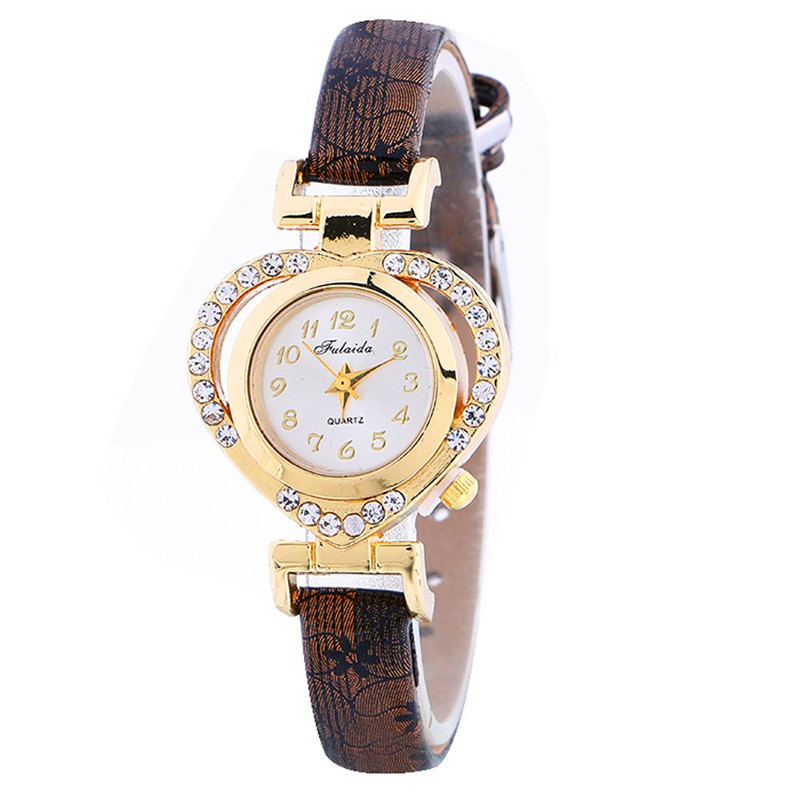 women watchesfemale male clock Women Ladies Casual Love Heart Leather Strap Quartz Wrist Watch relogio Reloj clock P*21 ...