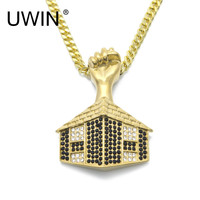 UWIN Men's Egyptian Pyramid Door Pendant Bling Rhinestone Gold Color Stainless steel Fist Pendants Necklaces Hip hop Jewelry