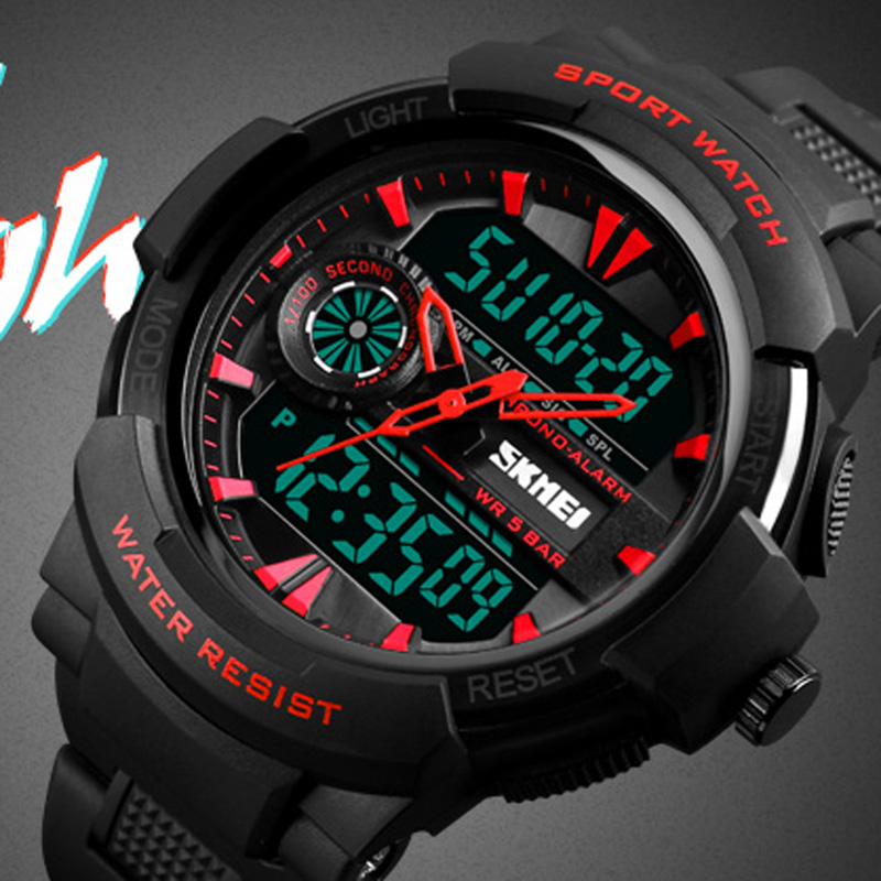 Sports Watches Men Waterproof Back Light Dual Display Wrist Watch Casual Digital Watch Clock Man Relogio Masculino SKMEI