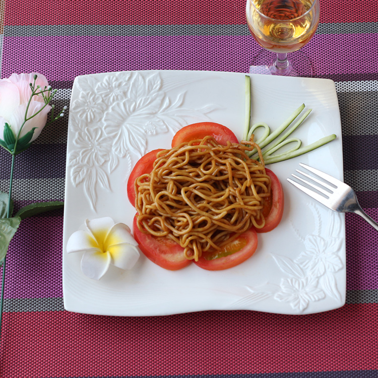 Vaisselle de service décorative en porcelaine | Céramique estampée de fleur, service d'assiettes plates pour la salade de boeuf Steak Spaghetti 3/ensemble - 4