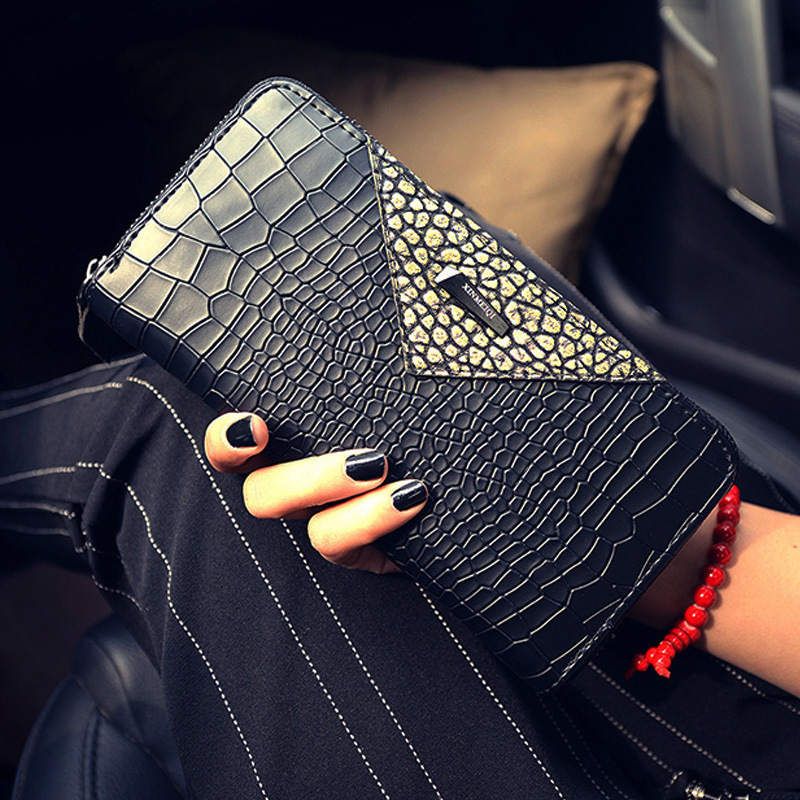 2018 fashion new women wallet Korean long zipper wallets large capacity crocodile pattern female purse handy purse