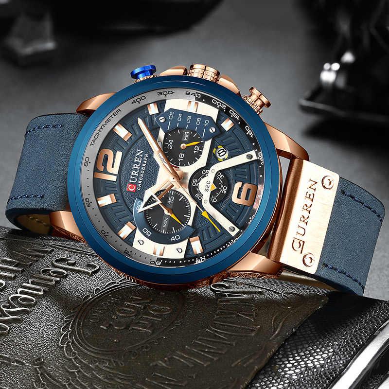 Curren męskie zegarki Top marka luksusowy chronograf mężczyźni zegarek skórzany luksusowy wodoodporny zegarek sportowy mężczyźni mężczyzna zegar człowiek zegarek
