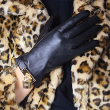 Touch Screen Gloves Genuine Leather Pure Imported Goatskin Black Female Metal Gold Color Lock Womans Touchscreen Mittens TB92-2