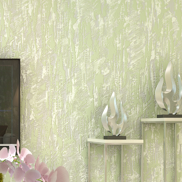 Modern Non Woven Solid Color Wallpapers All Match Green Wall Paper Roll Living Room