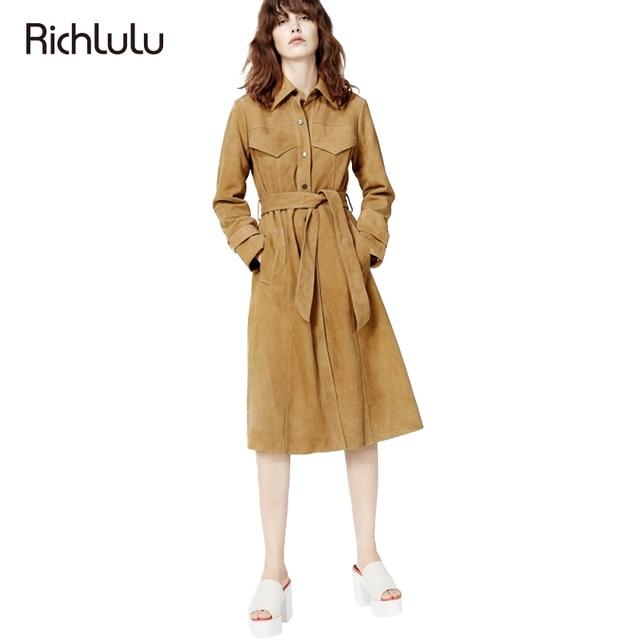 RichLuLu Apparel Elegant Vintage Faux Suede Coat Women Lace Up Single Breasted Pocket Trench Coat Female Casual Slim Basic Coat