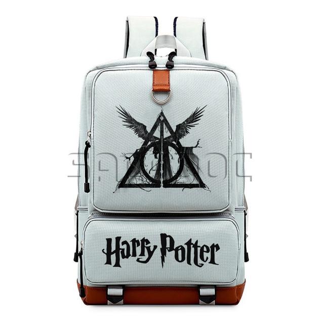 Harri Potter Relíquias da morte Hogwarts Meninos Meninas Mochilas Escolares Mochila de Lona Estudantes Laptop Mochila para Adolescentes Viajar Saco