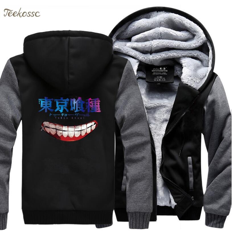 Japanese Anime Tokyo Ghoul Ken Kaneki Harajuku Hoodies Sweatshirt Men's 2018 Winter Men Warm Fleece Sweatshirts Coat Sportwear