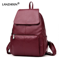 Lanzhixin Women Leather Backpacks For Women Vintage School Bag For College Girls Travel Bag Backpacks For