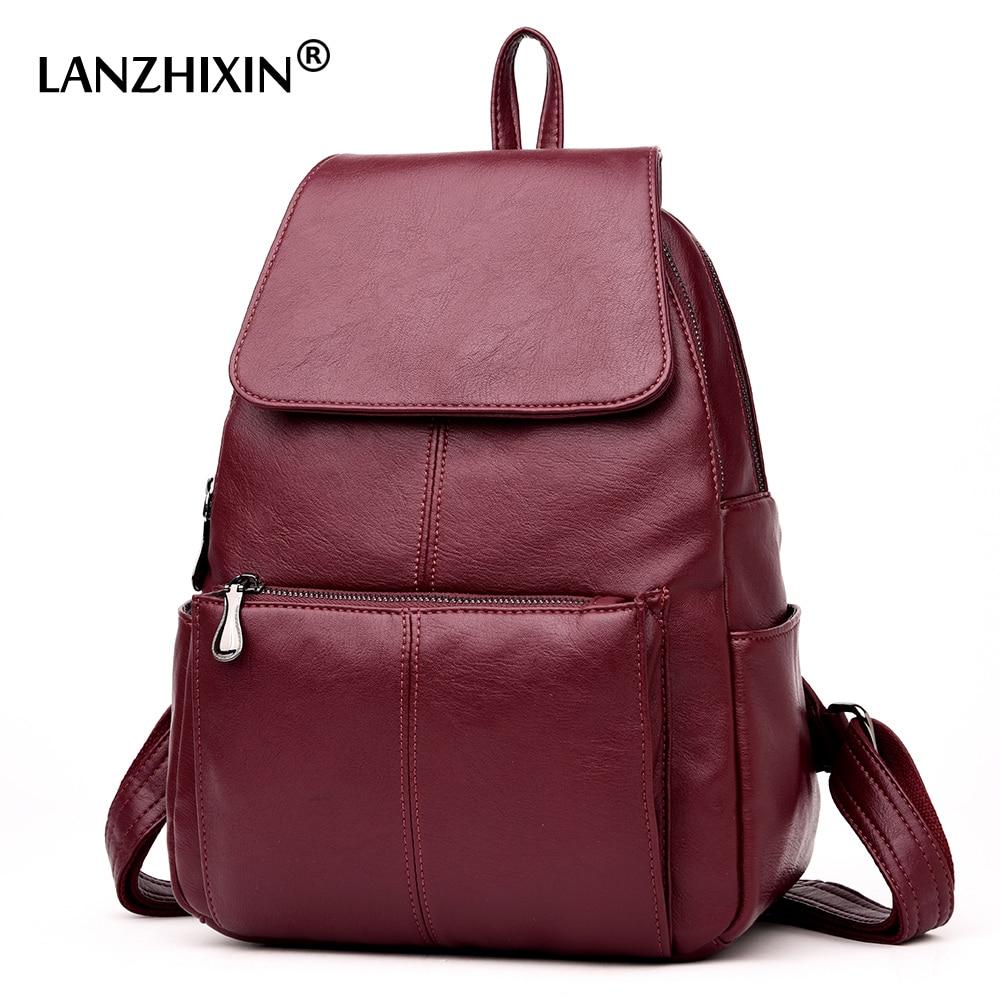 979cdf4f3274 Lanzhixin женские кожаные рюкзаки для женщин Винтажная школьная сумка для  колледжа девочек Дорожная сумка рюкзаки для