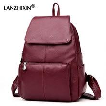 7d820526f767 Lanzhixin женские кожаные рюкзаки для женщин винтажные школьная сумка для  студентки дорожная сумка рюкзаки для студента