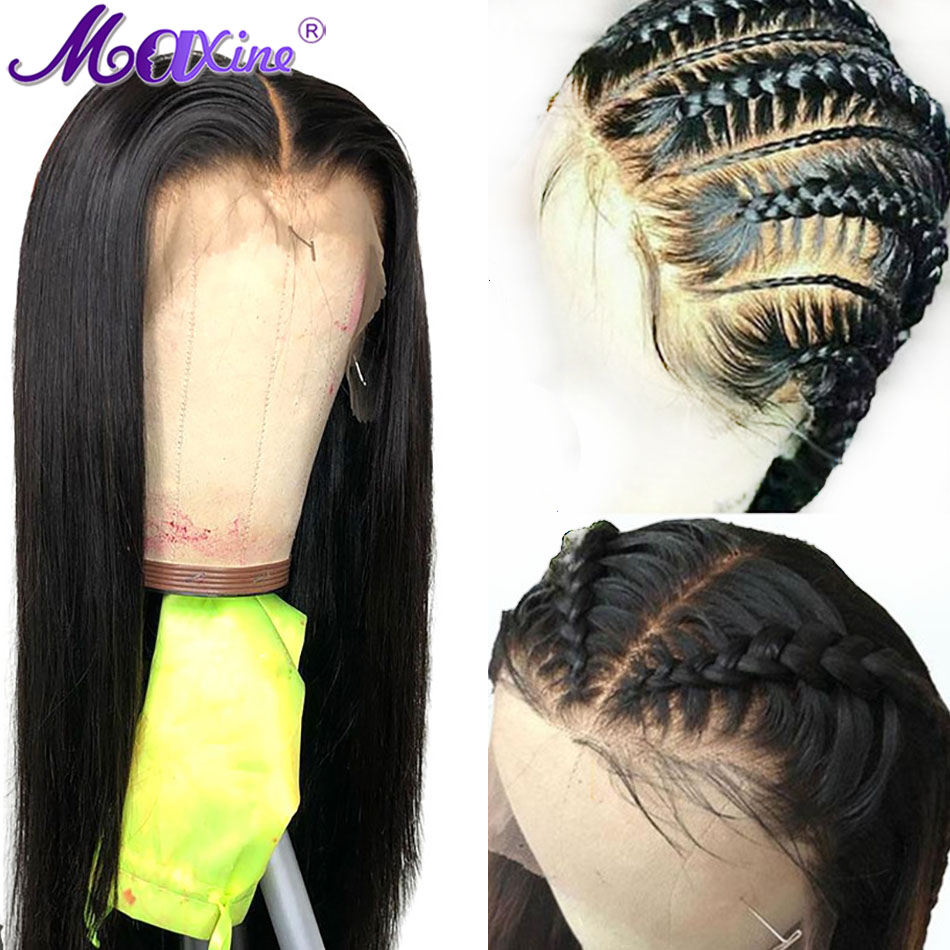360 Lace Frontal Wigs With Baby Hair Pre Plucked Peruvian Straight Human Hair Wigs Remy 150