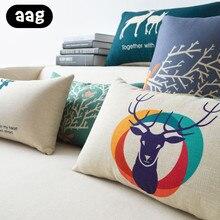 AAG Cartoon Rectangular Elk Throw Cushion Pillow Nordic Office Car Chair Bed Back Headrest Waist Pillow Home Decor Throw Pillow