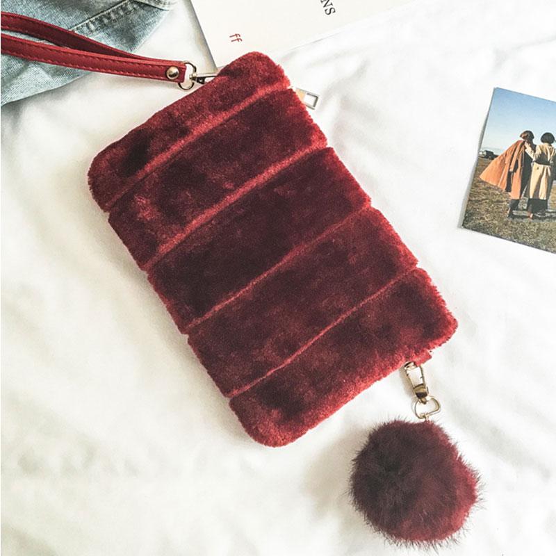 Autumn Winter Women Fashion Plush Velvet Envelope Clutch Bag With Pompons Ladies Casual Handbag Purse PU Strap Shoulder Bags