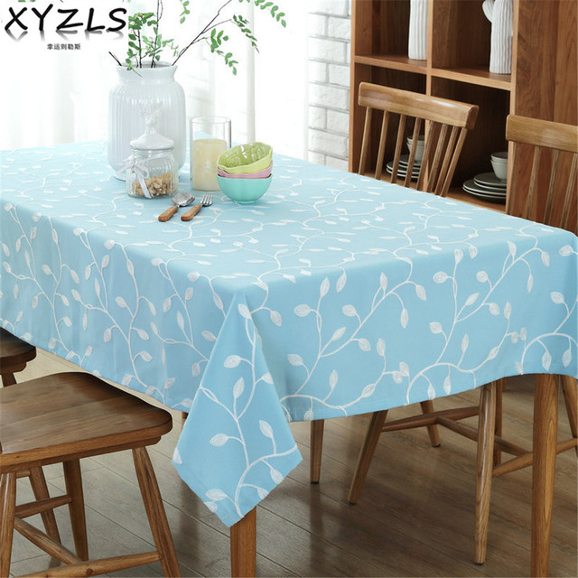 XYZLS Pastoral Embroidered Rectangle Tablecloth Cotton/Polyester Leaves 140*160 140*180cm Blue/Green Tablecloth