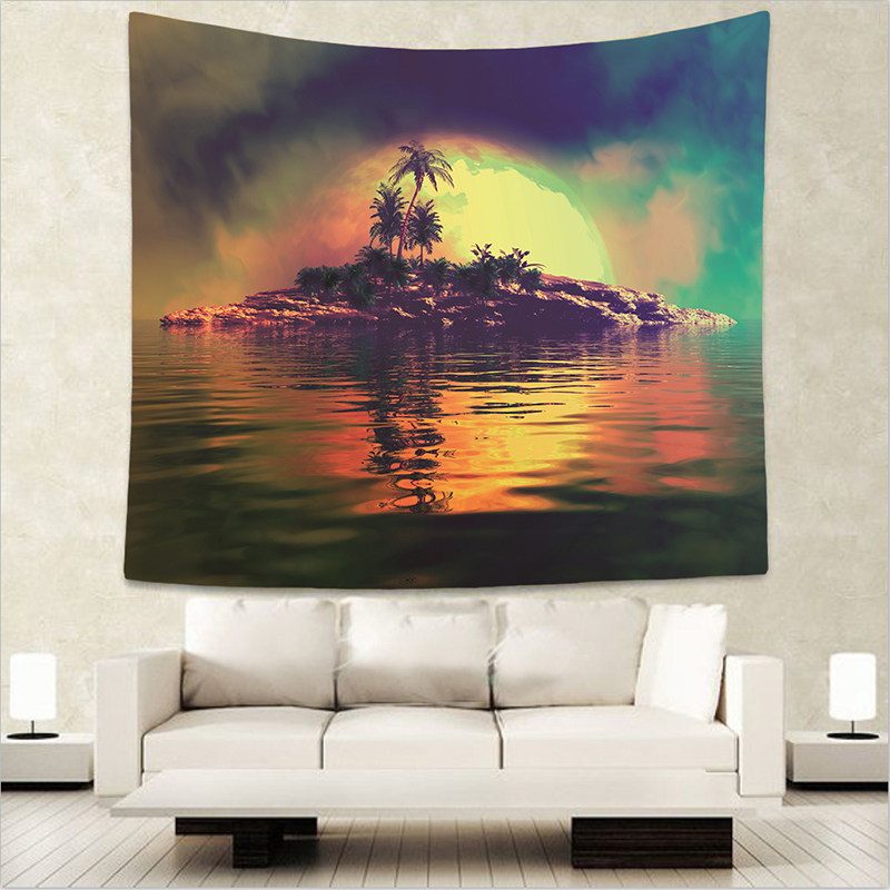 Palm Tree Tapestries Landscape Wall Hanging Shell Tropical Yoga Decor Lake Water Bedspreads Blue Sky Large Woven Custom