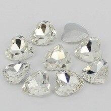 AAA+ прозрачный чистый цвет сердце с украшением в виде кристаллов с острым задняя стеклянный модный камень beads.10mm 12 мм 18 мм 23 мм