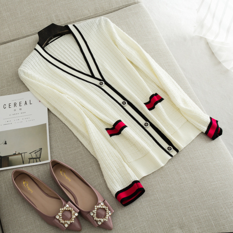 Herbst neue damen High end boutique kontrast rand V ausschnitt wolle mischung strickjacke-in Strickjacken aus Damenbekleidung bei  Gruppe 3