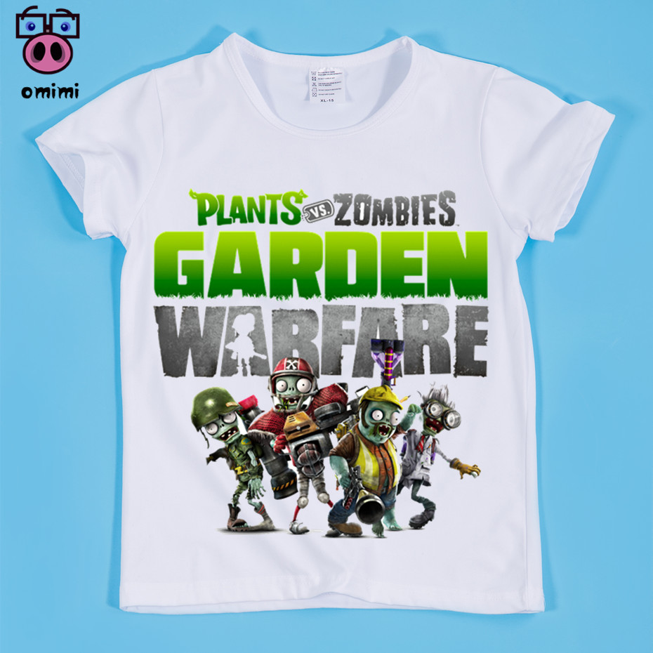 Kid's Plants Vs Zombies 2 Garden Warfare Print T-shirts Children Zombies Funny Comic Tops Tee Boy and Girl Game Clothing,OM006